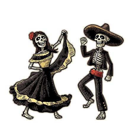Dzień Zmarłych, Dia de los Muertos. Szkielet w meksykańskich strojach narodowych tańczy, śpiewa i gra na gitarze. Ilustracje wektorowe
