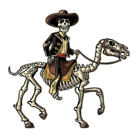 Der Reiter in den nationalen Kostümen des mexikanischen Mannes, die auf Skeleton Pferd galoppieren. Standard-Bild - 87420913