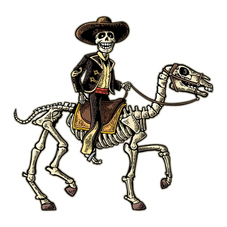 The rider in the Mexican man national costumes galloping on skeleton horse.