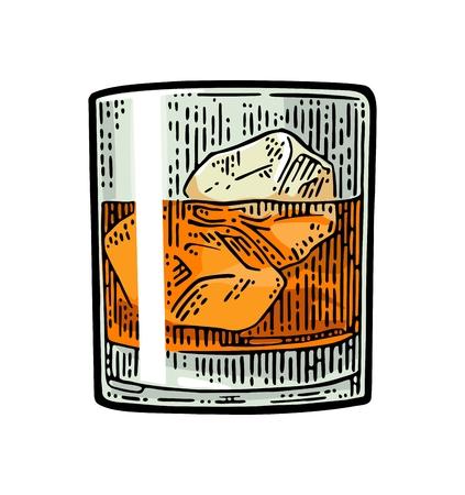 氷とウィスキー グラス。ベクトル ヴィンテージ色の彫刻