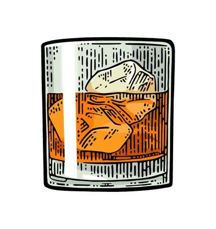 Whiskey glass with ice cubes. Vector vintage color engraving