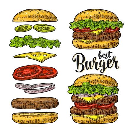 Burger with flying ingredients on white background. Vector black vintage engraving Ilustracja