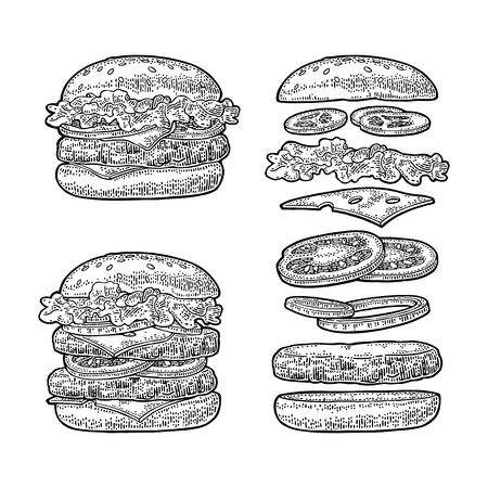 Burger with flying ingredients on white background. Vector black vintage engraving Vectores