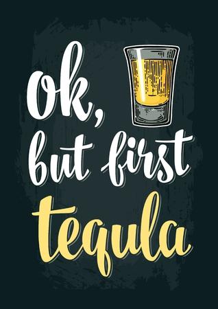 Tequila di vetro. Incisione vintage vettoriale Archivio Fotografico - 87815903