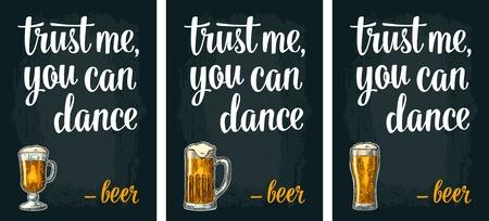 ガラスのビール。ビンテージ ベクトル彫刻ポスター
