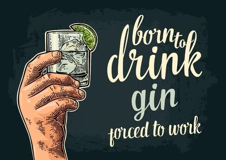 Mannelijke hand met een glas met gin, limoen en ijsblokjes. Vintage vectorgravure