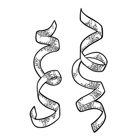 사문석 리본입니다. 벡터 빈티지 검은 조각 그림입니다.