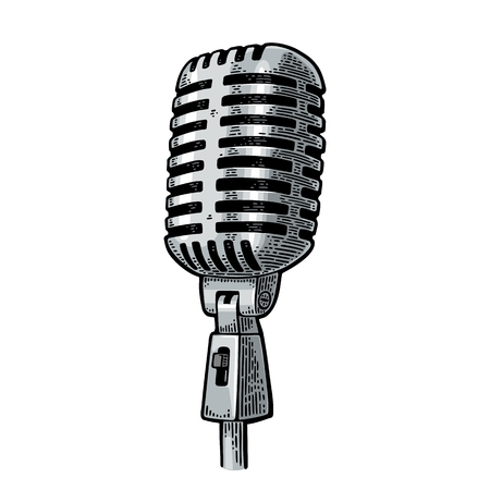 Microphone. Vintage vector black engraving illustration