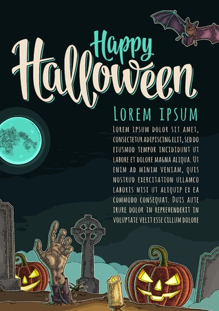 Vertical poster with Happy Halloween calligraphy lettering. Vector engraving