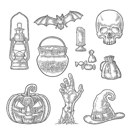 Halloween-pompoen met eng gezicht. Vector vintage gravure illustratie.