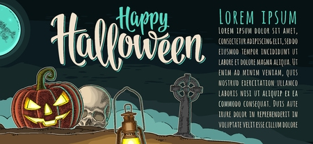 Horizontal poster with Happy Halloween calligraphy lettering. Vector engraving Иллюстрация