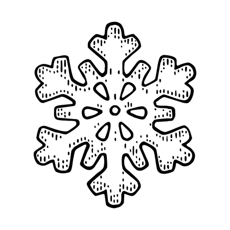 Snowflake. Vector vintage black engraving illustration. Çizim