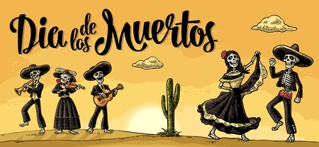 Skeleton Mexican costumes dance and play the guitar, violin, trumpet.