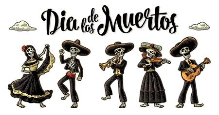 Dia de los Muertos. Le squelette dans les costumes nationaux mexicains Banque d'images - 87851001