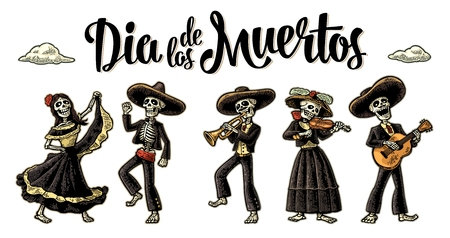 Dia de los Muertos. The skeleton in Mexican national costumes 矢量图像