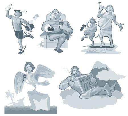 헤르메스가 달리고 있어요. 그리스 신 화이트 절연입니다. 벡터 평면 회색 그림