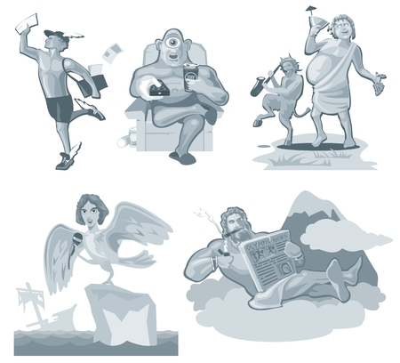 Hermes running. Greek god isolated on white. Vector flat gray illustration Illustration