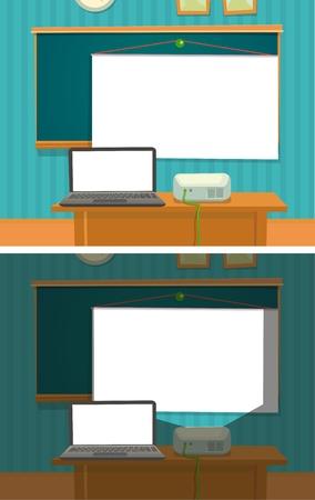 マルチ メディア ・ プロジェクター教室を提示します。  イラスト・ベクター素材