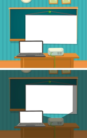 Multimedia projector die de klas aanbiedt.