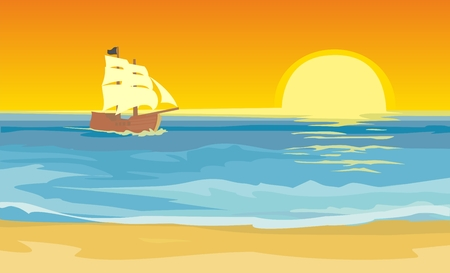 Sailboat floating on the sea. Vector flat illustration. Sunset