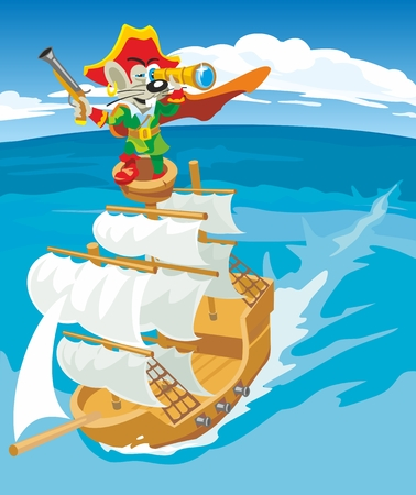 Comics mouse pirate sails on a sailboat. Vector flat illustration