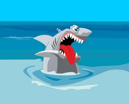 상어가 먹고 싶어. 만화 벡터 평면 그림 일러스트