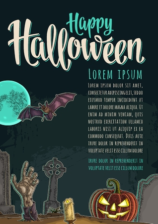 Vertical poster with Halloween Happy calligraphy lettering. Zdjęcie Seryjne - 87890459