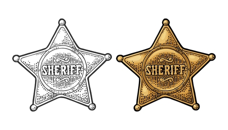 Sheriff star. Vintage black and color vector engraving Vettoriali