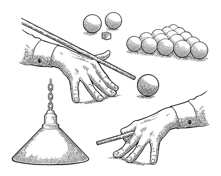 Set billiard. Balls, chalk, lamp, hand aimed cue.