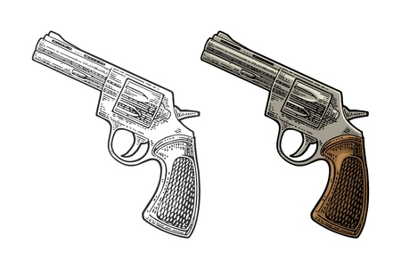 Revolver with short barrel and bullets. Vector engraving vintage illustrations. Imagens - 87890466