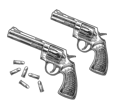 Two crossed revolver with bullets. Short and long barrels. Vector engraving vintage illustrations.