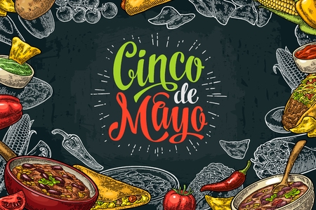 enchilada: Cinco de Mayo lettering and mexican traditional food