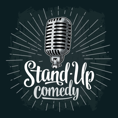Microphone. Lettered text Stand-Up comedy. Vintage vector engraving illustration