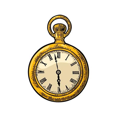 골동품 포켓 시계입니다. 벡터 빈티지 흰색 배경에 새겨진.