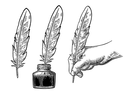 Inkwell and female hand holding a goose feather. Vector engraving
