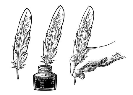 Tinteiro e fêmea mão segurando uma pena de ganso. Gravura do vetor