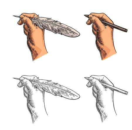 Female hand holding a goose feather and pencil. Vector color vintage engraving