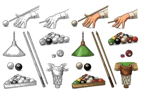 Définir le billard. Bâton, boules, craie, poche et lampe. Gravure noire vintage
