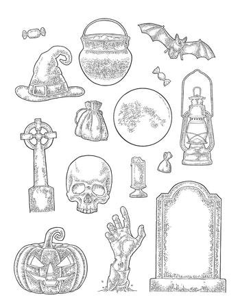 Instellen voor Halloween-feest. Vector vintage gravure