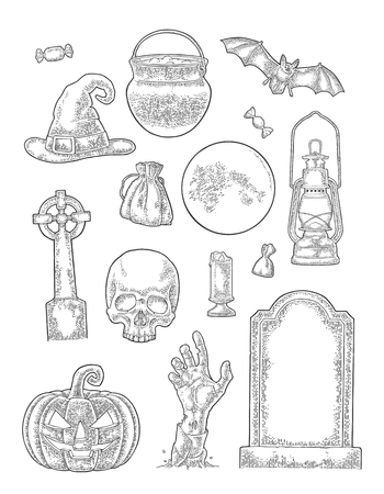 Set for Halloween Party. Vector vintage engraving