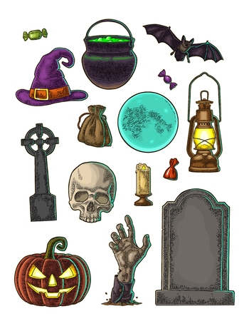 Instellen voor Halloween-feest. Vector kleur vintage gravure