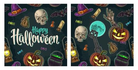 Naadloos patroon voor Halloween-feest. Vintage kleurengravure Stock Illustratie