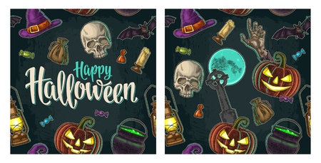 Seamless pattern for Halloween party. Vintage color engraving Illustration