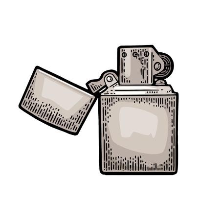 빈티지 블랙 새겨진 된 라이터 그림 흰색 배경에 고립. 일러스트
