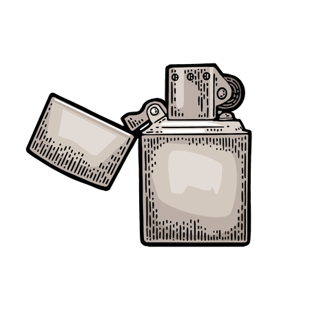 Vintage black engraved lighter illustration isolated on white background. Иллюстрация