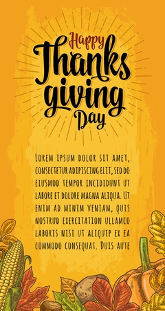 Poster with Happy Thanksgiving day calligraphy lettering.
