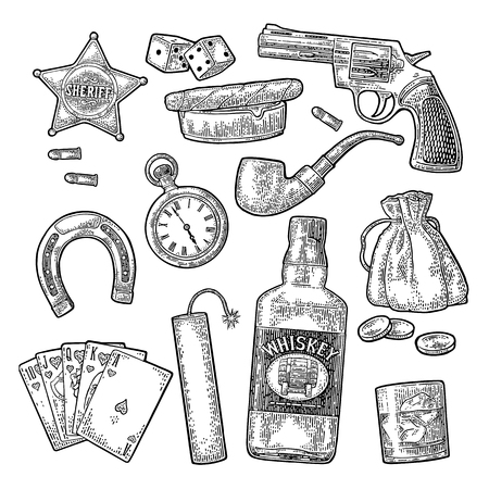 Set of vintage engraving of wild west symbols.