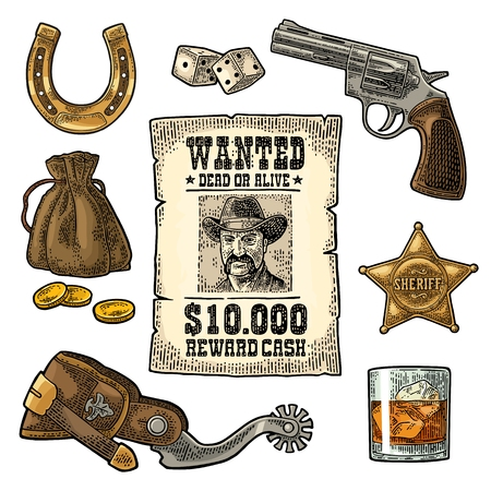 Set of colored vintage engraving of wild west symbols. Vettoriali