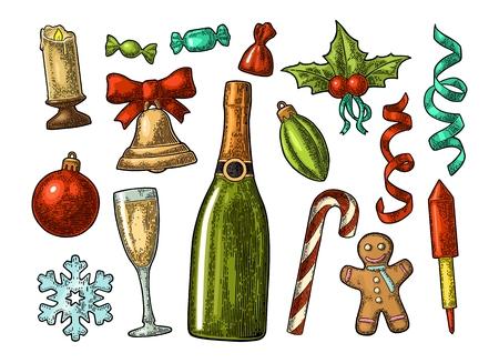 Set van kleurrijke prettige kerstdagen en gelukkig Nieuwjaar elementen.