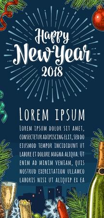 De kalligrafie van het affiche het verticale Gelukkige Nieuwjaar van letters voorzien met stralen Stock Illustratie